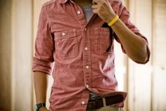 Red Chambray Shirt | This would look really good on my Man, preferably in Gray and of course i would like to have my own in Red color.