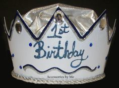 1st Birthday Hat Boys Crown Light Blue Satin by accessoriesbyme, $38.99