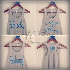 5 Personalized Wedding Party Flowy Racerback Tank Tops, Bridesmaid Shirts, Bachelorette Party Tank Tops, Maid of Honor Shirt, Bride Tank Top on Etsy, $140.00