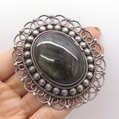 Vtg-925-Silver-Real-Large-Obsidian-Gemstone-Handmade-Locket-Pendant-Pin-Brooch