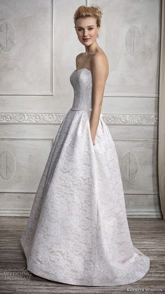 kenneth winston fall 2016 bridal strapless semi sweetheart neckline full embellishment sophiscated beautiful a  line wedding dress pockets sweep train (1685) sdv
