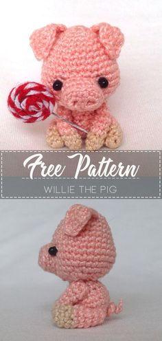 Willie the Pig – Pattern Free – Easy Crochet – Best Amigurumi Crochet Pig, Quick Crochet, Crochet Amigurumi Free Patterns, Crochet Animal Patterns, Cute Crochet, Crochet Crafts, Crochet Dolls, Crochet Projects, Easy Crochet Animals