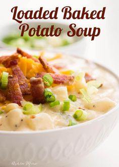 One Pot Loaded Baked Potato Soup Recipe Ashlee Marie Winter Holiday Comfort Food Potato Soup Soup Recipes, Cooking Recipes, Healthy Recipes, Healthy Soup, Bacon Recipes, Healthy Breakfasts, Vegetarian Recipes, Recipies, Loaded Baked Potato Soup