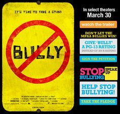 I want my children to see this.  They are not bullies, I've told them what I'd do to them if they ever did, nor have any of them been bullied, but I want them to be aware of it so they can stop it if they witness it taking place.  I hate bullies I have zero tollerance for them.  You don't have to like everyone, but there is NO reason to torment and torture another human being to the point of them not wanting to exist any longer!!!