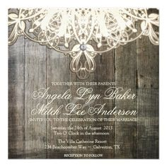 Country Lace and Wood Rustic Wedding Invitation. This might be a bit frilly? But the timber behind looks cool! Discount Wedding Invitations, Country Wedding Invitations, Lace Wedding Invitations, Wedding Cards, Rustic Invitations, Wedding Bells, Wedding Gifts, Chic Wedding, Rustic Wedding