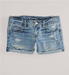 Six Denim DIYs That Can Turn Disastrous - Destroyed Denim Midi Short, $24.99, ae.com