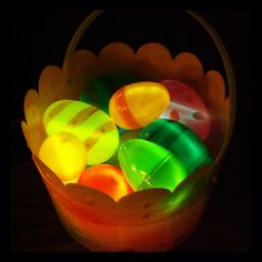 Glow in the dark Easter egg hunt! Simply put glow stick bracelets or necklaces in the eggs and hide them when it gets dark. Note it is easier the bigger the eggs are. My kids loved it so much we had to keep playing it indoors by turning the lights off. :-)