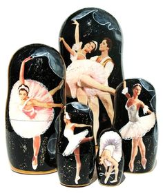 Gracious ballet dancers strike elegant poses on hand painted portraits of 5 piece Russian babushka nesting doll. Limited stock. Buy today and save.