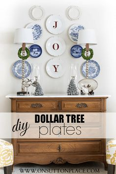 Make these DIY Dollar Tree JOY plates with a super simple decal and basic white plates.