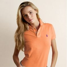 Ralph Lauren Women Orange Mesh Short Sleeved Polo