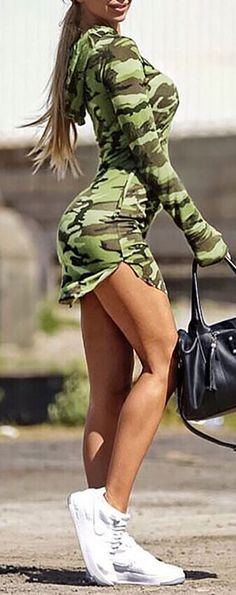 Hot Girl Summer so U Know She Got it Lit 💗 'Cause it's Killing My Pride 💌 Camouflage Hoodied Bodycon Dress Bodycon Sexy Outfits, Sexy Dresses, Summer Outfits, Cute Outfits, Fashion Outfits, Camo Fashion, Military Fashion, Womens Fashion, Fitness Lady