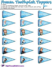 Toothpick toppers Disney Frozen | Free Printables for the Disney Movie Frozen | SKGaleana