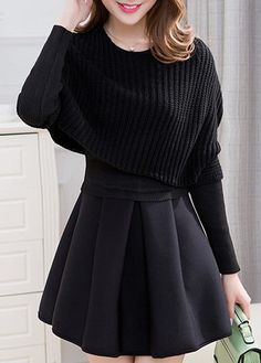 Black Top and High Waist Pleated Sweater Dress  on sale only US$34.90 now, buy cheap Black Top and High Waist Pleated Sweater Dress  at lulugal.com