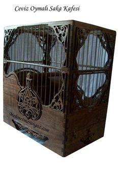 Kuş Kafesi,Oymalı Saka Kafesi,ceviz saka kafesi, ahşap kafes | Yekpare Kasalı Saka Kafesi