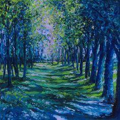 """Blue Evergreens"": Iris Scott, finger painter."