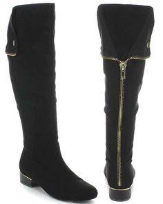 b1ac7bf0e80 Pirate Back Zipper Black Women s Slouchy Knee-high Vegan Boots Funky Shoes