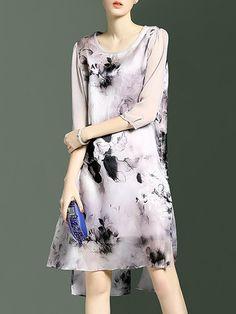 Vintage Silk 3/4 Sleeve Printed Midi Dress