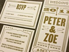 Bold and brazen letterpress wedding invitation inspiration found on The Petite Adventurer.