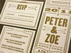 Bold and brazen letterpress wedding invitation inspiration found on The Petite Adventurer.