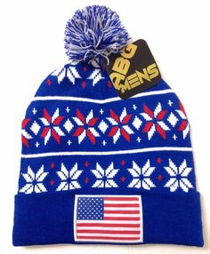 AMERICAN FLAG PATCH POM BEANIE Blue/White/Red Ugly Sweater Winter Knit Men/Women #ABG #Beanie