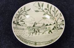 Homer Laughlin Dura Print Vegetable Serving Bowl 8 7/8 Plow Farmer Green RARE! #HomerLaughlin