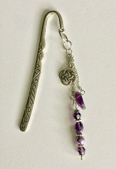 Antique Silver (plated) Glass Purple Beaded Hook Bookmark by JudyNolting on Etsy