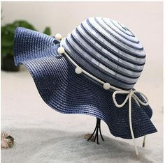 Beautiful pearl bow straw hat for girls striped flounced sun hat 0cb97c591145