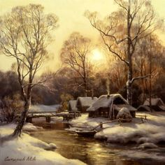 Painting by artist Mikhail Satarov from the genre of Landscape - Winter sunset Winter Landscape, Landscape Art, Landscape Paintings, Art Paintings, Painting Art, Winter Sunset, Winter Scenery, Dream Pictures, Winter Pictures
