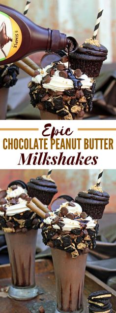 Discover recipes, home ideas, style inspiration and other ideas to try. Peanut Butter Milkshake, Peanut Butter Snacks, Chocolate Milkshake, Chocolate Peanut Butter Brownies, Chocolate Sweets, Chocolate Peanuts, Butter Frosting, Butter Pie, Peanut Butter Blossoms