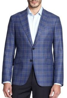 $1,775, Armani Collezioni Windowpane Sportcoat. Sold by Saks Fifth Avenue. Click for more info: https://lookastic.com/men/shop_items/356076/redirect