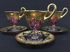 Sada šálků na čaj * smaltované brusinkové sklo na stopce s ručně malovaným květinovým vzorem * Moser.