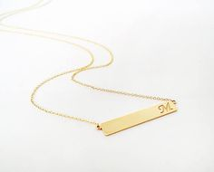 14K Gold Bar Necklace, Personalized Initial Bar necklace, Initial Bar Necklace, Dainty Initial Necklace, Thin gold bar necklace, Bridesmaid