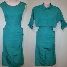 50s turquoise cocktail dress and bolero jacket