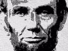 "Kerry Mott, ""Honest Abe,"" portrait of Abraham Lincoln composed from thousands of pieces of carefully cut and placed duct tape, preserved under sealant. (Photo: ~Courtesy of Kerry Mott)"