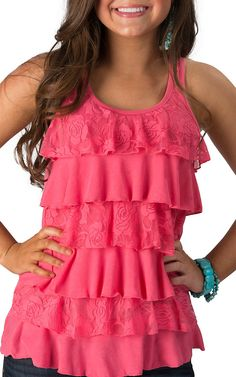 d5c4a69dfa913 Panhandle Slim Women s Rose Pink Knit and Lace Ruffle Front Racer Back Tank  Top Ruffle Shirt