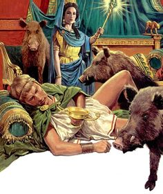 Roger Payne - Circe changing the sailors into pigs. Tags: odyssey, circe