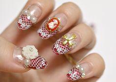 Nails 3D nails gothic lolita lolita fashion lolita by Aya1gou