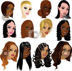 mixed women art  | Mixed Biracial Women Faces stock vector clipart, Vector Illustration ...