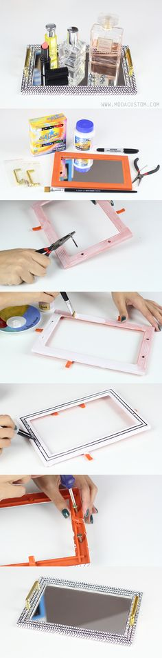 Vídeo no blog: http://www.modacustom.com/2015/09/tutorial-bandeja-de-espelho-decorativa.html