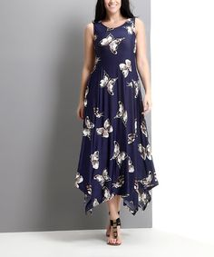 Love this Navy Butterfly Handkerchief Maxi Dress - Plus by Reborn Collection on #zulily! #zulilyfinds