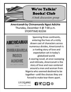 December 2014 We're Talkin' Books! Club #Livermore #WTBC #Americanah 12/4/14