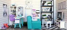 Sami Says AG- American Girl Doll House- Z Yang Fixer Upper Modern Media Room- AG doll living room