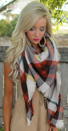 Fall Plaid Blanket Scarf - The Lace Cactus. use code GRACE10 for a discount