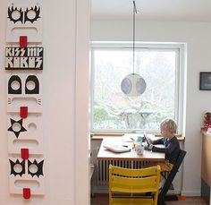 """Sneak Peek: Johanne and Palle Bruun Rasmussen's Aarhus home. """"The Kiss piece was the first art piece I ever bought. The kids have Tripp Trapp chairs that you adjust with the size of the child, a genius piece of design, in my opinion."""" #sneakpeek"""