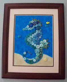 Seahorse button art