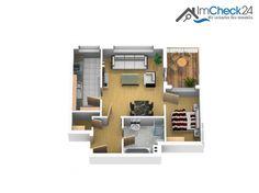 Im Grundriss wird die unkomplizierte Raumaufteilung der attraktiven 2-Zimmer-Wohnung noch einmal deutlich.