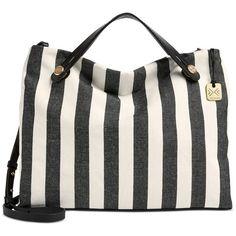 Skagen Denmark Double Handle Mikkeline Satchel ($183) ❤ liked on Polyvore featuring bags, handbags, black stripe, tote bag purse, crossbody purse, satchel handbags, tote handbags and handbag satchel