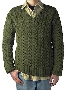 Berroco® Free Pattern | Ben v-neck cable sweater