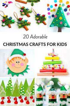 20 Adorable Christmas Crafts for Kids Christmas Crafts For Kids To Make, Christmas Activities For Kids, Diy Christmas Ornaments, Christmas Projects, Simple Christmas, Kids Christmas, Diy For Kids, Holiday Crafts, Kindergarten Christmas