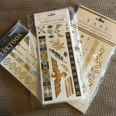 Metallic Temporary Flash Tattoos NWT - Metallic Temporary Tattoos - Lead & Nickel Free - Comes with 3 Sheets (1 of each picture) - Please ask for a separate listing before purchasing! - 12 Available Boutique Accessories